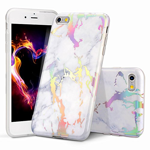 WORLDMOM iPhone 6 Case, Holographic iPhone 6S Case, Colorful Laser Holographic Flash Map Marble Shock Absorption Technology Bumper Soft TPU Cover Case for iPhone 6/iPhone 6s 4.7', Marble 3