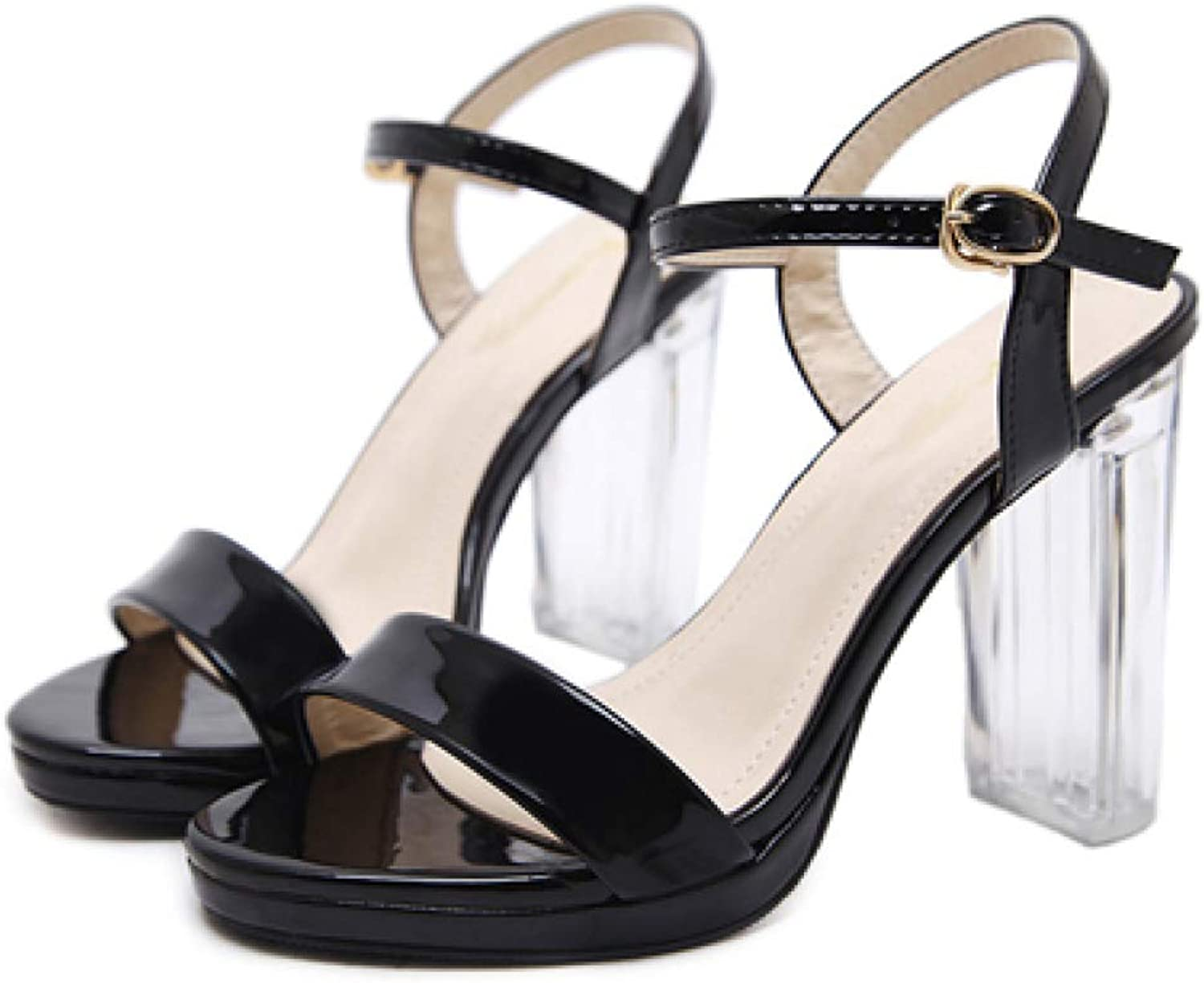 MEIZOKEN Womens Open Toe Chunky Clear High Heel Sandal Transparent Ankle Slingback Lace Up Pump Sandals