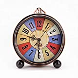 Metal Estilo Europeo Retro Reloj Creatividad Despertador ElectróNico Digital Estudiante Personalidad Cabecera Mudo Sencillez Reloj De Escritorio,A