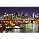 GREAT ART Wall Mural – New York Mural – Decoration Brooklyn Bridge at Night Glowing Skyscraper...