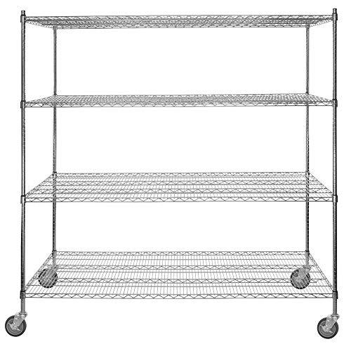 30 inch. x 72 inch. Chrome 4-Shelf Kit with 64 inch. Posts and Casters. Heavy Duty Shelving Organizer. Garage Organization Shelf Steel Metal Adjustable Shelves Multi Storage Rack with Wheels
