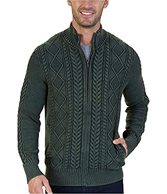 Nautica Men's Cotton Cable-Knit Zip Sweater (Moss Heather, S) by Nautica