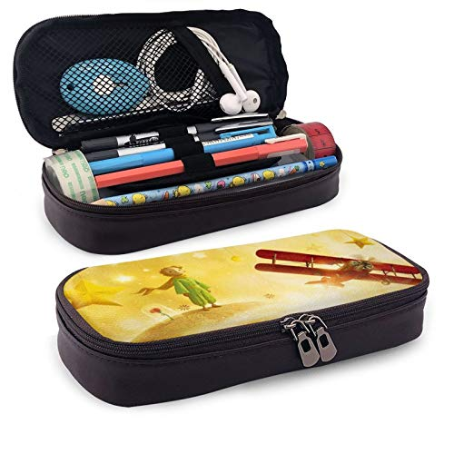 Little Prince Leather Pen Case Holder Cosmetic Double Zipper Bag for Adults Girls Boys School Office