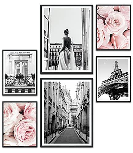 MUUDLY Premium Poster Set, Modern Wandbilder para salón y dormitorio, 2 x A3 & 4 x A4, imágenes como Wanddeko Wanddeko (Paris Rosa, sin marco)