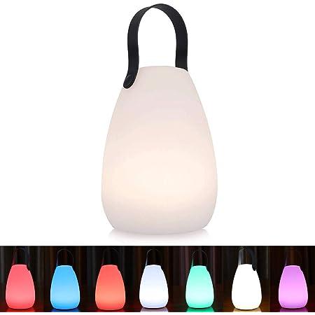 uuffoo Lampe de Table Lampe de Chevet Portative, LED étanche Rechargeable sans Fil Multicolore Dimmable Lampe de Jardin Extérieure LED, Terrasse, Lanterne Intérieure (lisse)