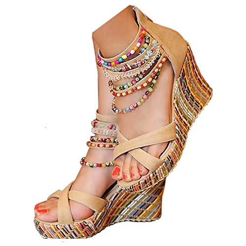 Getmorebeauty Women's Wedge Sandals Pearls Across The Top Platform High Heels 8 B(M) US