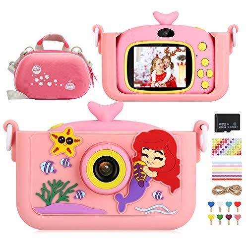 Luclay Kinderkamera, Digital Fotokamera Selfie und Video Kleinkind Kamera mit Kameratasche, Silikonhülle, Fotoclip und 32 GB Karte, 20 MP HD 1080P wiederaufladbares und stoßfestes für Kinder (Rosa 1)