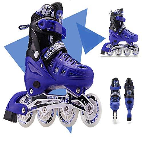 Weiße Schlittschuhe, Schlittschuhe für Erwachsene, Rollschuhe, Straight Skating, komplettes Set für Kinder, Anfängerpaket für Männer und Frauen 39-42 Vollblitz Blaue Schuhe [Rucksack senden]