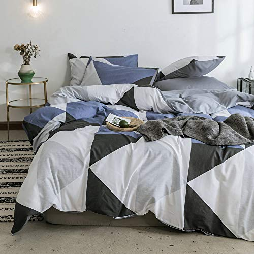 Queen Full Triangle Pattern Bedding Duvet Cover Sets Blue White Black Geometric Bedding Comforter Cover Sets Reversible Gray Bedding Collections for All Season Hotel Quality 100% Cotton Bedding Set