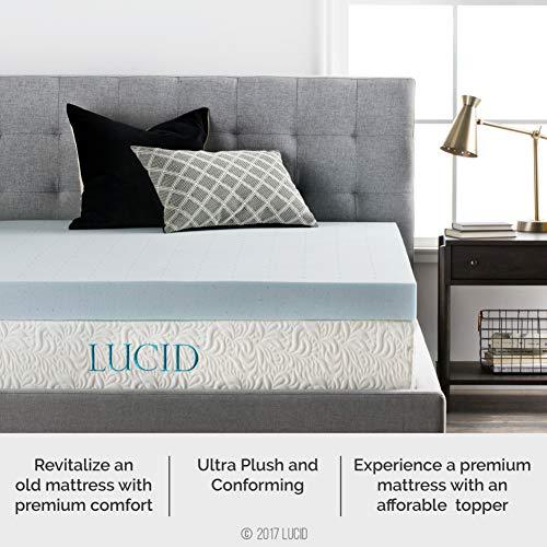 LUCID 4 Inch Gel Memory Foam Mattress Topper - Ventilated Design - Ultra Plush - Queen,