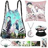 A Silent Voice Movie Anime Bag Pillow Case Necklace Bracelet Phone Holder 4 Lomo Cards (A Silent Voice)
