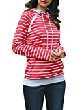 Gobought Womens Long Sleeve Striped Hoodies Cowl Neck Double Hooded Pullover Red