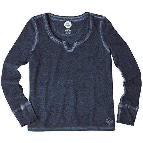 Life is good Women's Notch Neck The Mountain Patch T-Shirt (Darkest Blue), Large