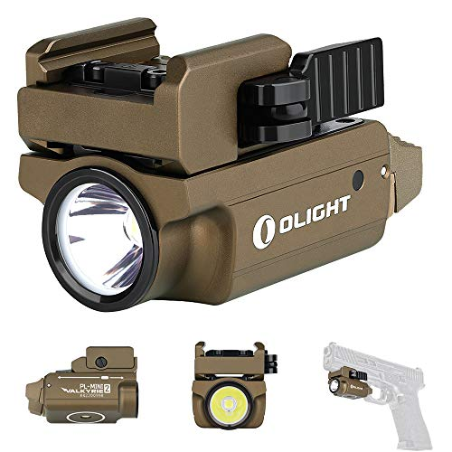 Olight PL-MINI 2 Valkyrie 600 Lumens CW LED Tactical Flashlight Magnetic Rechargeable with Adjustable Rail,Powered by a Built-in Polymer Battery, with SKYBEN Battery Case(Desert Tan)