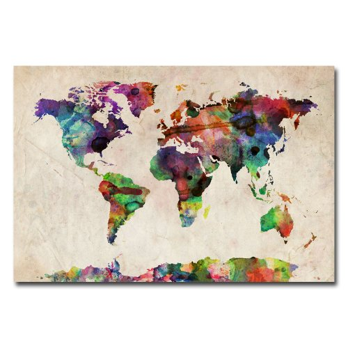 Urban Watercolor World Map by Michael Tompsett, 22x32-Inch Canvas Wall Art