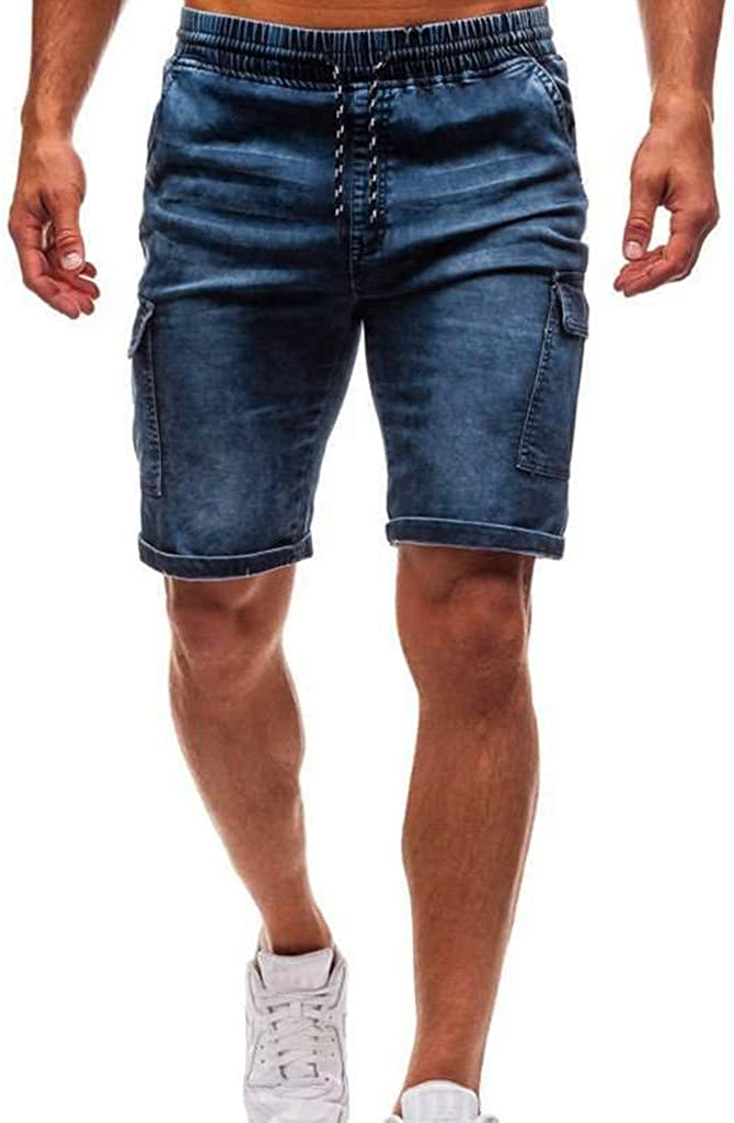 Denim Jeans Forthery Men's Stretchy Shorts Casual Classic Fit Drawstring Destroyed Taped Slim Fit Denim Pants(Blue,XXL=32)