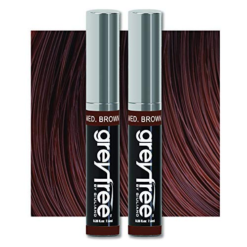 Root touch up, temporary hair color to cover gray hairlines, eyebrows, Mustache & Beards Greyfree 2 PACK ( MEDIUM BROWN )
