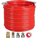 """YAMATIC Sewer Jetter Kit for Gas Pressure Washer 100FT 4000PSI 4.5GPM 1/4"""" NPT Drain Cleaning Hose with 4.5 & 5.5 Orifice Button Nozzles, 4.5 Rotating Sewer Jetting Nozzle, Red"""