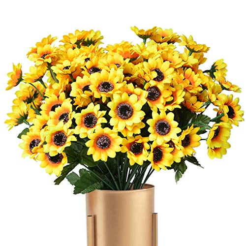Kinwell 10 Bunches Silk Artificial Sunflowers Bouquet Fake Sunflower Decorations for Home Decor and Wedding Decorations
