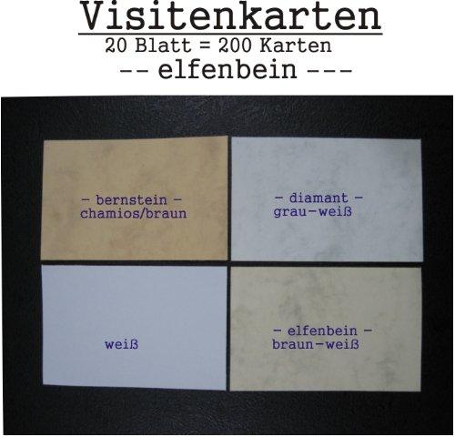 Lote de 400 tarjetas de visita en blanco, aprox. 85 x 54 mm, color blanco, color beige