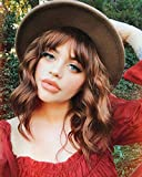 AISI HAIR Short Wavy Bob Wig With Bangs Colored Reddish Brown Short Curly Women Girl's Charming Synthetic Wigs Natural Looking Full Head Hair Replacement Wig for Daily Wear or Costume Wigs