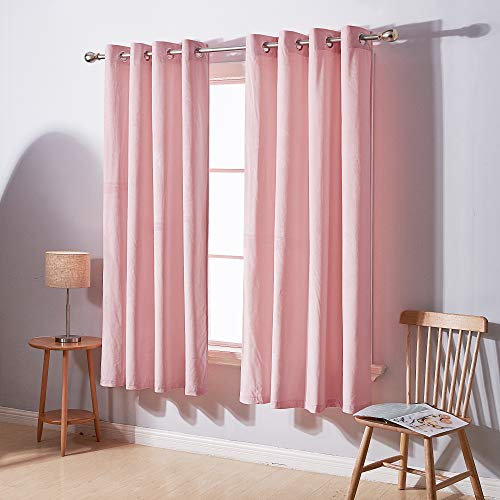 Deconovo Room Darkening Grommet Velvet Curtains for Bedroom Thermal Insulated Royal Curtain Panel for Living Room 52x63 Inch Baby Pink 2 Panels
