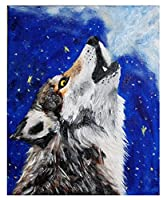Diy 数字油絵 数字塗り絵 _ ホッキョクオオカミ動物オオカミ _ 大人の子供のためのギフ _ ト デジタル油絵 数字キットでペイント ホーム オフィス装飾 _ 40X50Cm _ 【ギフト】木製フレーム