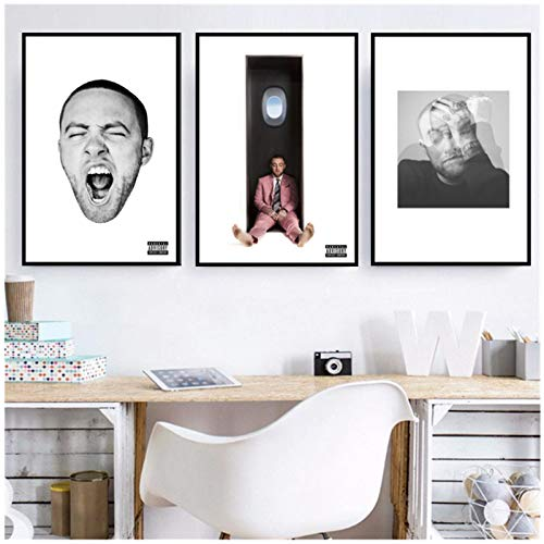 HuaFan Mac Miller Rapper Singer Star Circles Music Album Poster Wall Art Picture Prints Canvas Painting Home Room Decor-20X28 Inch 3Pcs No Frame