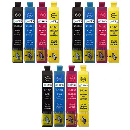 3 Go Inks Set van 4 inktcartridges ter vervanging van Epson T1295 Compatibel/niet-OEM voor Epson Stylus Office-printers (12 Inks)
