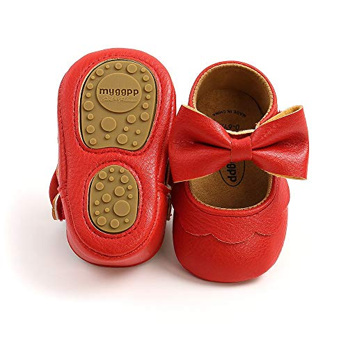 TIMATEGO Baby Girl Mary Jane Flats Shoes Non Slip Soft Sole Infant Toddler First Walker Wedding Princess Dress Crib Shoes, 6-12 Months Infant, 10 Red