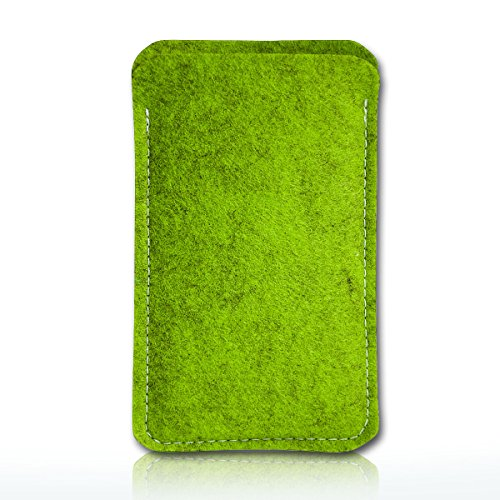 sw-mobile-shop Filz Style Wiko Riff Premium Filz Handy Tasche Hülle Etui passgenau für Wiko Riff - Farbe grün - schwarz