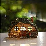 TopHGC Solarbetriebenes beleuchtetes Feenhaus, Wohngartenverzierung, Harzbaumhaus-Gartenstatue-Rasenlampe mit Lichtsteuerungs-Induktionslichtern für Hausgartendekoration