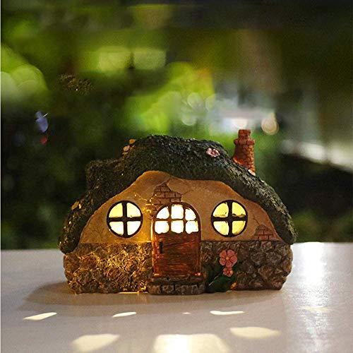 TopHGC Casa de hadas iluminada con energía solar, adorno de jardín de vivienda, lámpara de estatua de resina de la casa del árbol con inducción de control de luz para la decoración del hogar