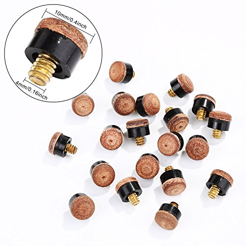 20 Pieces Screw on Tips 10 mm Cue Tips with Plastic Storage Box for Pool Cues and Snooker, Brown