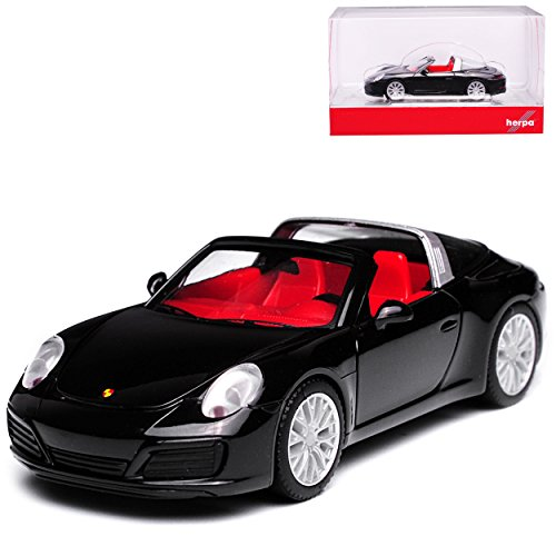 Herpa Porsche 911 991 Targa Cabrio 4S II Cabrio Schwarz Modell Ab 2012 Ab Facelift 2015 H0 1/87 Modell Auto mit individiuellem Wunschkennzeichen