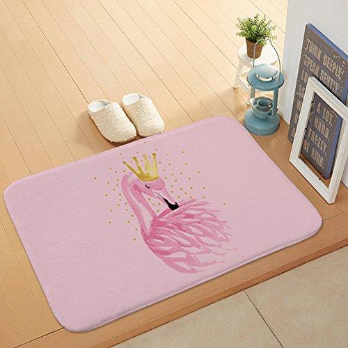 Morbuy Hochflor Flanell Shaggy Schmutzfangmatte Teppich Flamingo 40X60CM Anti-Rutsch-Bequeme Badematte Badezimmer-Teppich saugfähiger weicher Duschteppich-Indoor/Outdoor(Krone Flamingo)
