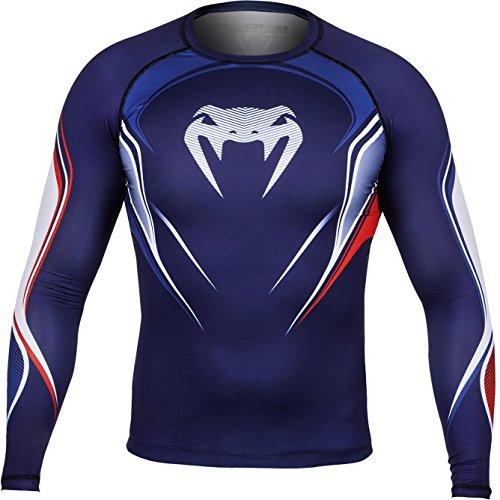 Venum Herren Kompression T-Shirt French Hero, Blue/Ice/Red, XXL