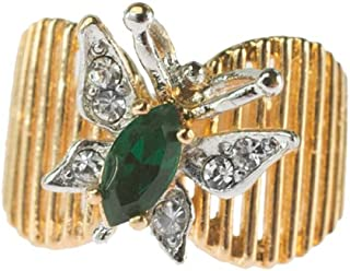 Providence Vintage Jewelry Butterfly Emerald and Clear Swarovski Crystals 18kt Yellow Gold Electroplated