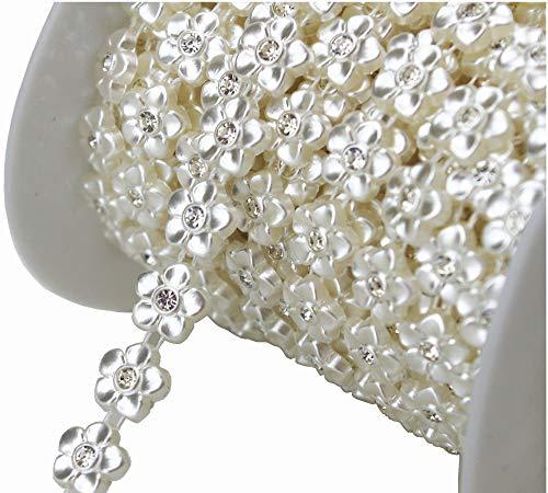 10m 2/5'Ancho marfil flor perlas Rhinestone cadena Sew en vestido de novia adornos decoracin lz107