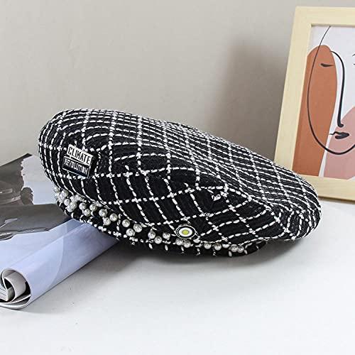 Sombrero femenino Ying Ying insignia retro pequeño viento perla plaid berier sombrero femenino literario pintor salvaje cap starise cap-black_Code