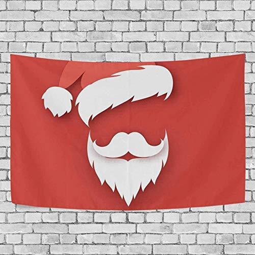 JXZIARON Tapiz Art Paño para Colgar en la Pared Impresión HD Cocina Dormitorio Sala de Estar Decoración,Papá Noel con Barba Blanca con Fondo Exclusivo de Red Hat para 60 x 40 Pulgadas-D7