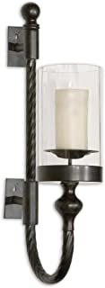 Intelligent Design Colonial Black Iron Wall Sconce   Twisted Metal Hurricane Candle Holder