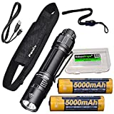 Fenix PD36 TAC 3000 Lumen LED Tactical Flashlight, 2 X 5000mAh Batteries and Holster with EdisonBright Battery Carrying case