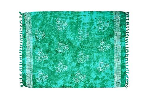 MANUMAR Damen Pareo blickdicht, Sarong Strandtuch in grün mit Schmetterling Motiv, XXL Übergröße 225x115cm, Handtuch Sommer Kleid im Hippie Look, für Sauna Hamam Lunghi Bikini Strandkleid