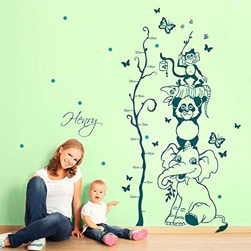 ilka parey wandtattoo-welt Stickers muraux de Autocollants Animaux de la Jungle Toise Arbre avec nom et Pois Multicolores Bicolore M1730, Rose Bonbon, XL