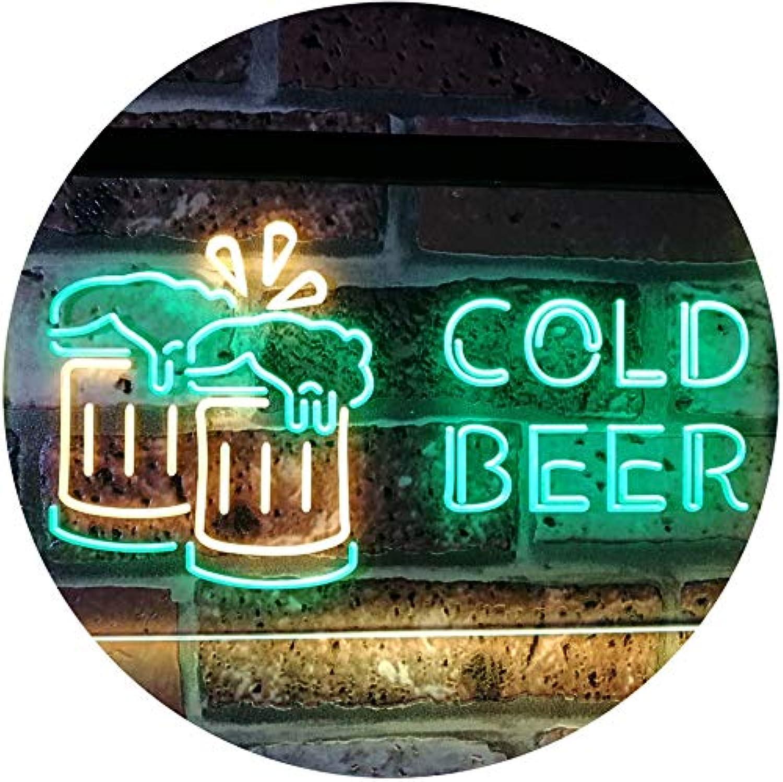 ADVPRO Cold Beer Bar Pub Club Décor Dual Farbe LED Barlicht Neonlicht Lichtwerbung Neon Sign Grün & Gelb 16  x 12  st6s43-i2069-gy