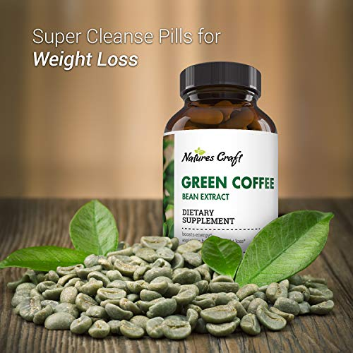 Natural Raw Green Coffee Bean Extract - Extra Strength Pure Premium Antioxidant Beans - 800 mg Max Fat Burner Supplement Super Cleanse Pills for Weight Loss Benefits Reviews 1