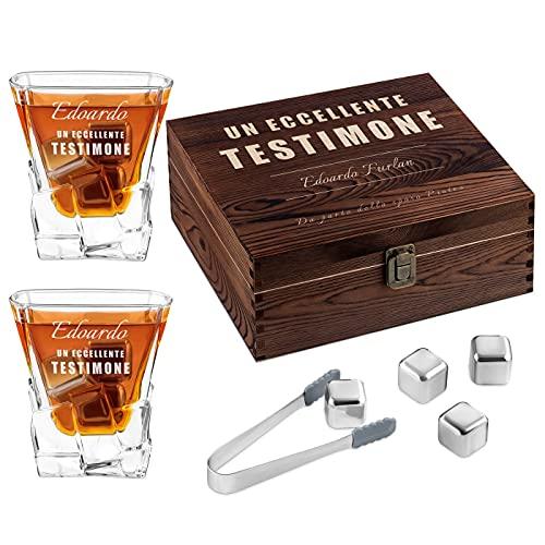Murrano Set di Pietre da Whisky - in un cofanetto personalizzato - 8 cubetti di ghiaccio + 2 bicchieri con incisione - riutilizzabili - in granito - regalo uomo - stemma