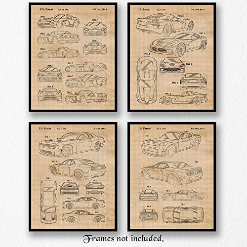 Vintage Dodge Demon, Viper, Challenger Hellcat Patent Poster Prints, Set of 4 (8x10) Unframed Photos, Great Wall Art Decor Gifts Under 20 for Home, Office, Studio, Student, Teacher, Cars & Coffee Fan
