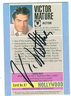 Autograph 189383 Samson & Delilah Actor 1991 Hollywood Walk of Fame No. 87 Back Victor Mature Autographed Trading Card